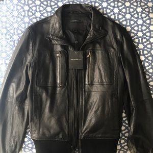 John Varvatos black leather jacket